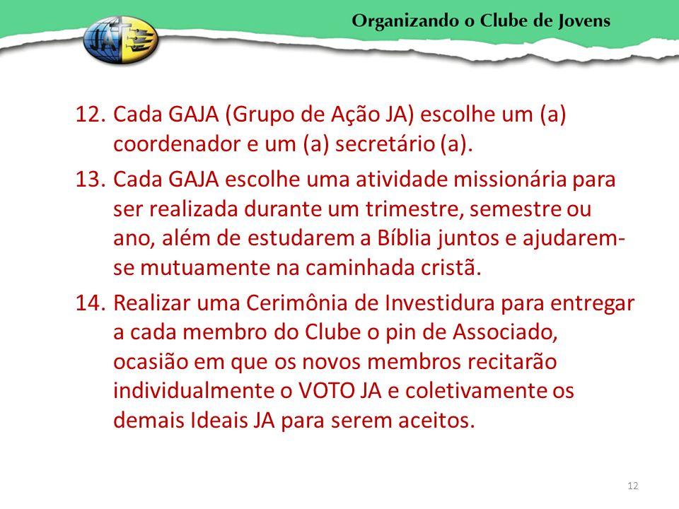 12.Cada GAJA (Grupo de Ação JA) escolhe um (a) coordenador e um (a) secretário (a). 13.Cada GAJA escolhe uma atividade missionária para ser realizada