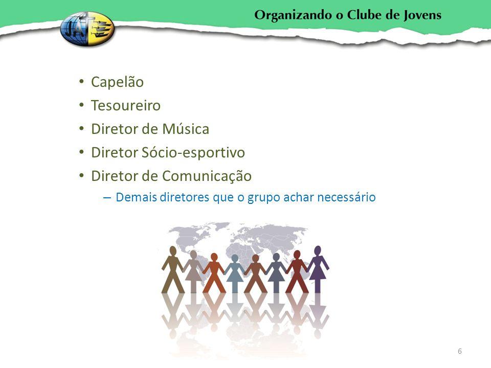 Capelão Tesoureiro Diretor de Música Diretor Sócio-esportivo Diretor de Comunicação – Demais diretores que o grupo achar necessário 6