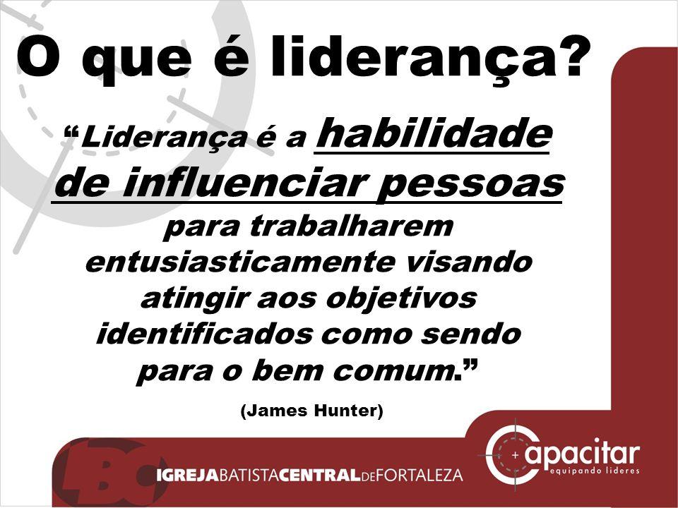 Liderança é a habilidade de influenciar pessoas para trabalharem entusiasticamente visando atingir aos objetivos identificados como sendo para o bem comum.