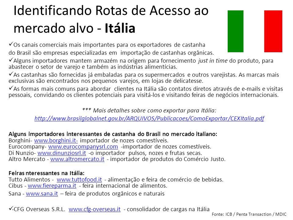Os canais comerciais mais importantes para os exportadores de castanha do Brasil são empresas especializadas em importação de castanhas orgânicas. Alg