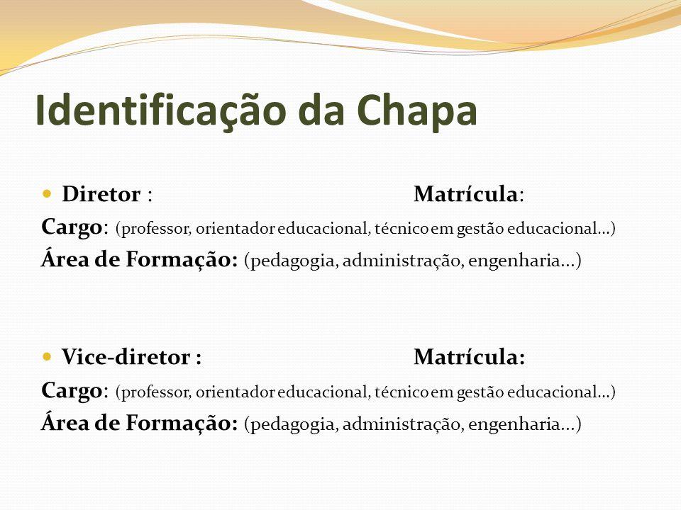 Identificação da Chapa Diretor : Matrícula: Cargo: (professor, orientador educacional, técnico em gestão educacional...) Área de Formação: (pedagogia,