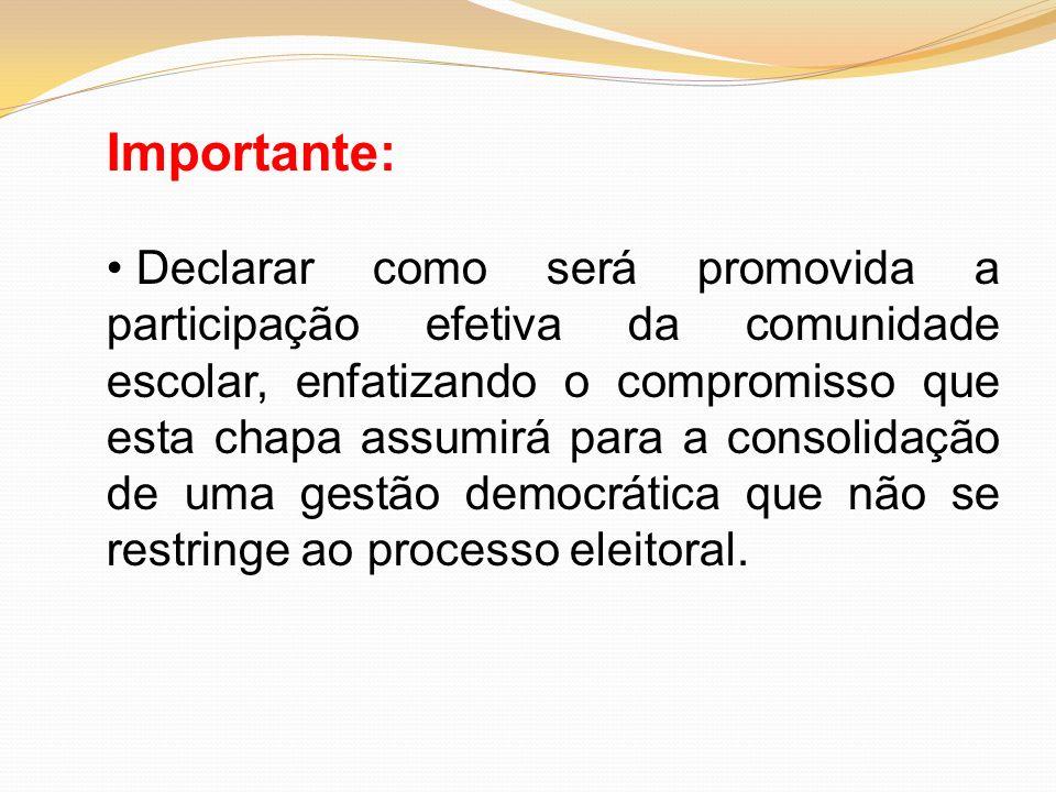 Importante: Declarar como será promovida a participação efetiva da comunidade escolar, enfatizando o compromisso que esta chapa assumirá para a consol