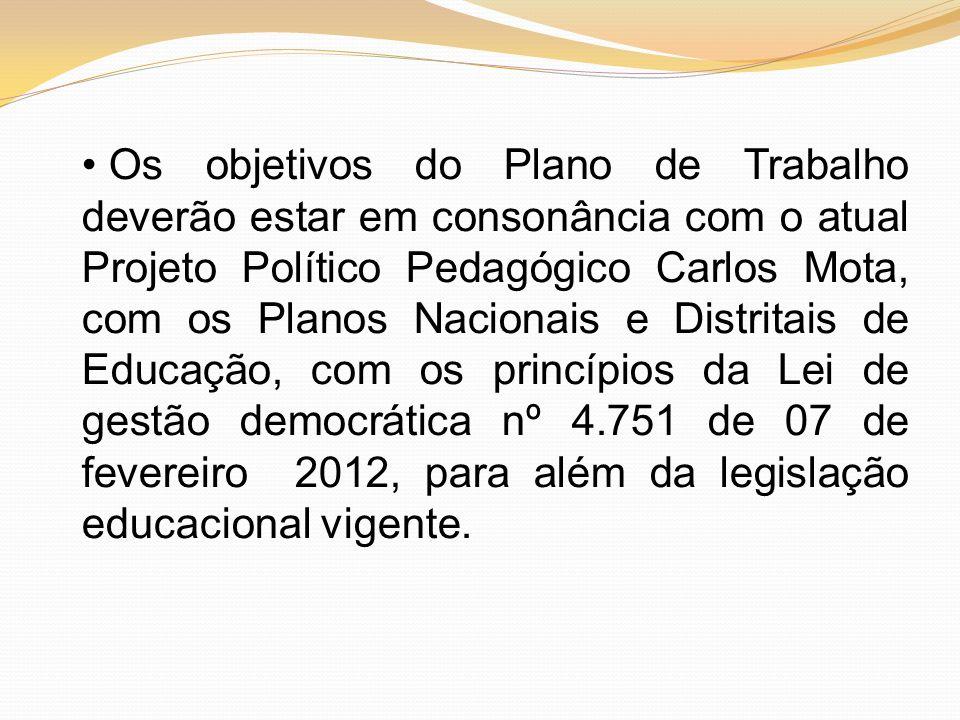 Os objetivos do Plano de Trabalho deverão estar em consonância com o atual Projeto Político Pedagógico Carlos Mota, com os Planos Nacionais e Distrita