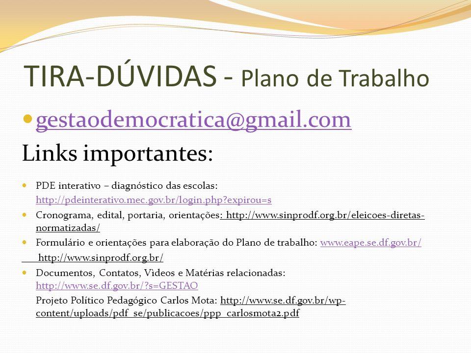 TIRA-DÚVIDAS - Plano de Trabalho gestaodemocratica@gmail.com Links importantes: PDE interativo – diagnóstico das escolas: http://pdeinterativo.mec.gov