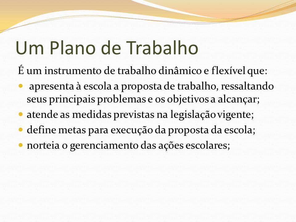 Um Plano de Trabalho É um instrumento de trabalho dinâmico e flexível que: apresenta à escola a proposta de trabalho, ressaltando seus principais prob