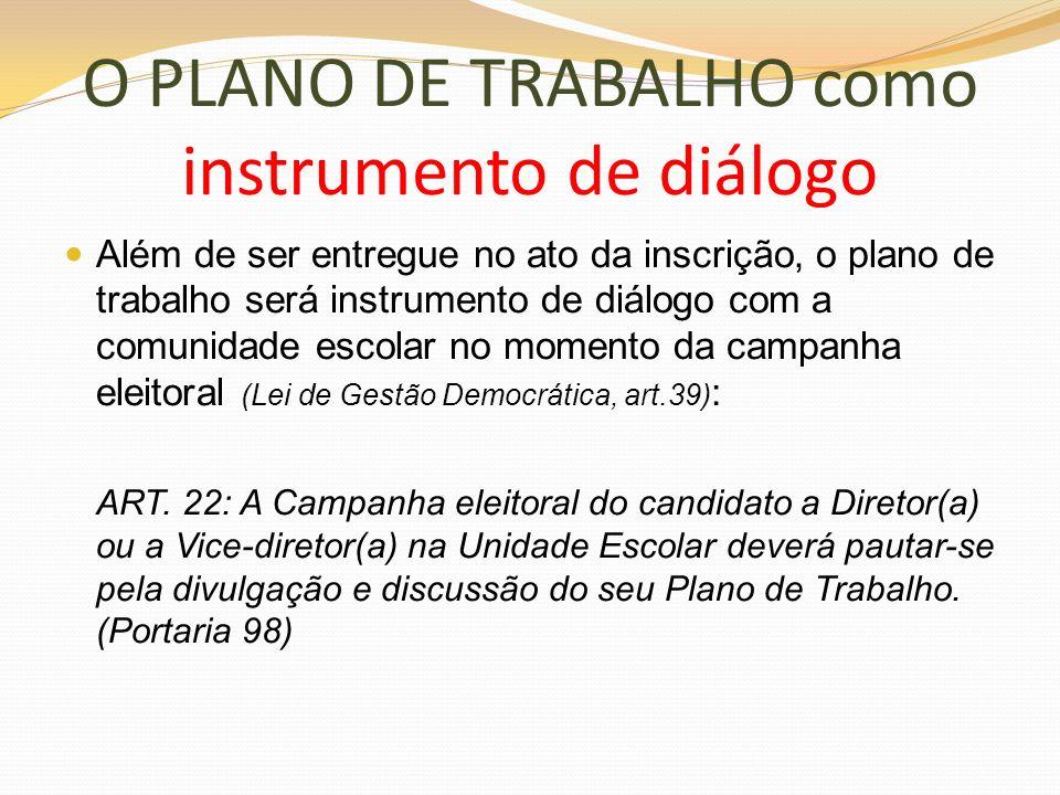 O PLANO DE TRABALHO como instrumento de diálogo Além de ser entregue no ato da inscrição, o plano de trabalho será instrumento de diálogo com a comuni
