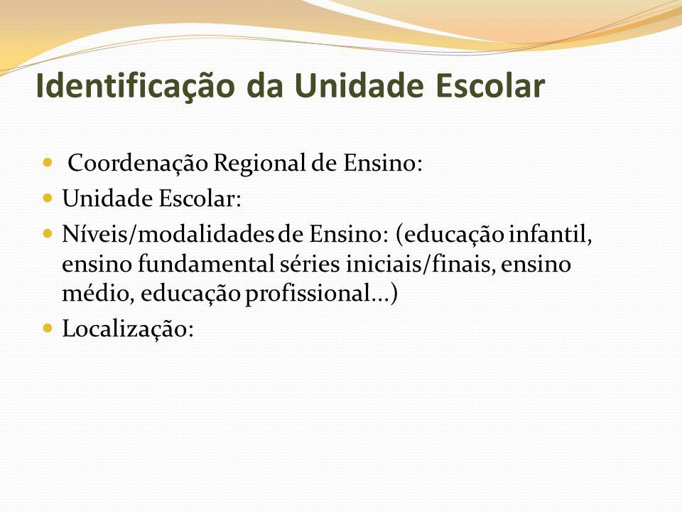 Identificação da Unidade Escolar Coordenação Regional de Ensino: Unidade Escolar: Níveis/modalidades de Ensino: (educação infantil, ensino fundamental