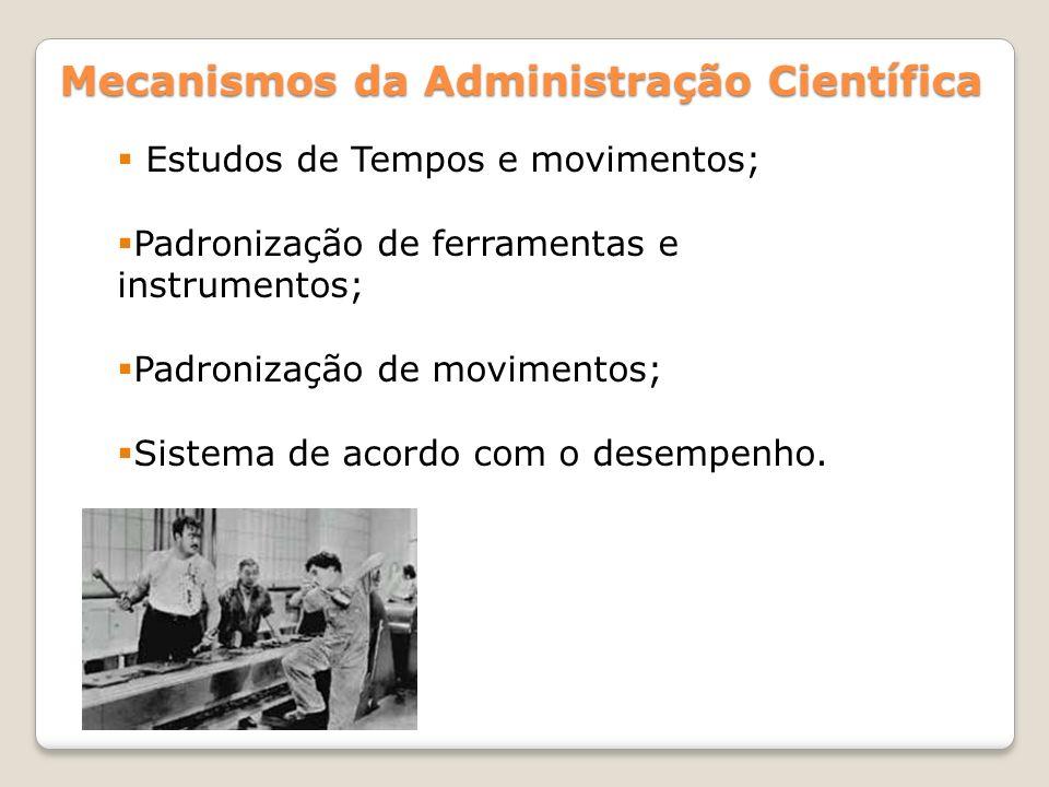 Mecanismos da Administração Científica Estudos de Tempos e movimentos; Padronização de ferramentas e instrumentos; Padronização de movimentos; Sistema de acordo com o desempenho.