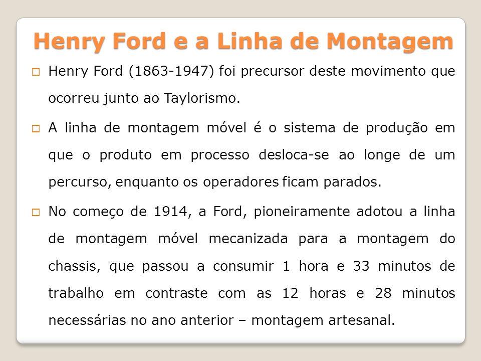 Henry Ford (1863-1947) foi precursor deste movimento que ocorreu junto ao Taylorismo. A linha de montagem móvel é o sistema de produção em que o produ