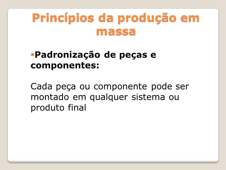 Padronização de peças e componentes: Cada peça ou componente pode ser montado em qualquer sistema ou produto final