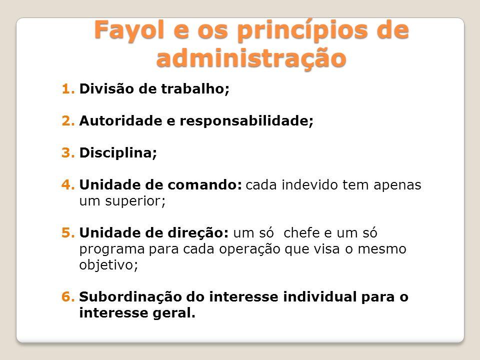 1.Divisão de trabalho; 2.Autoridade e responsabilidade; 3.Disciplina; 4.Unidade de comando: cada indevido tem apenas um superior; 5.Unidade de direção