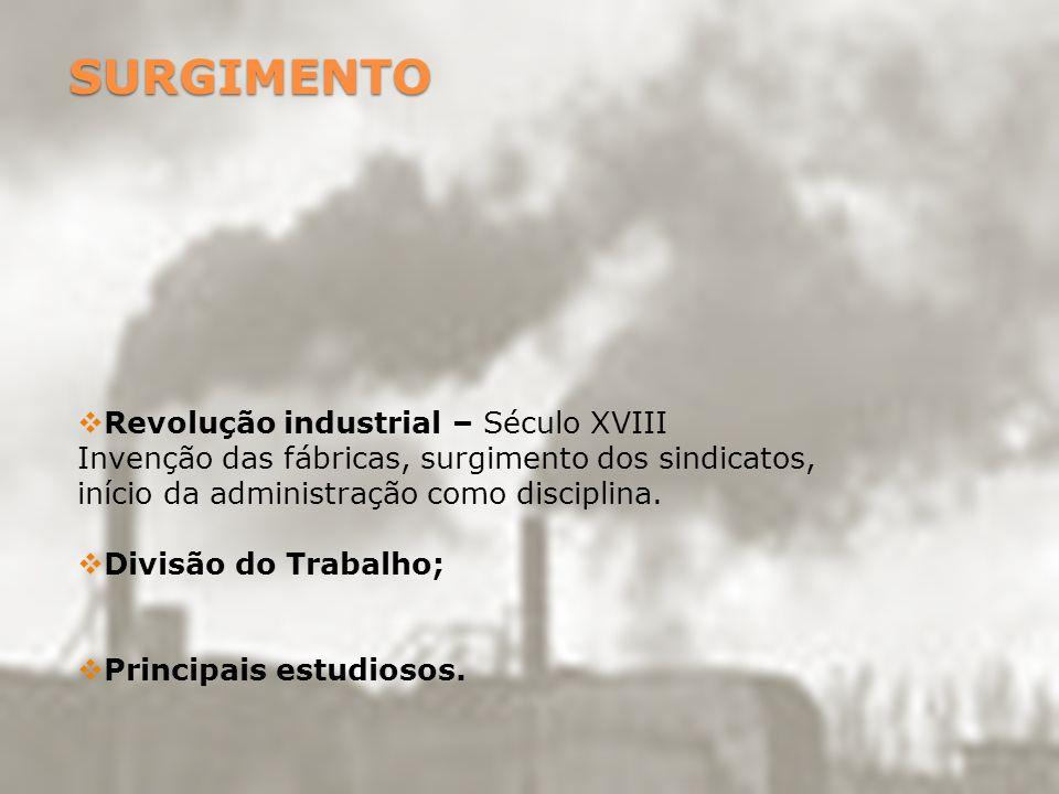 SURGIMENTO Revolução industrial – Século XVIII Invenção das fábricas, surgimento dos sindicatos, início da administração como disciplina. Divisão do T