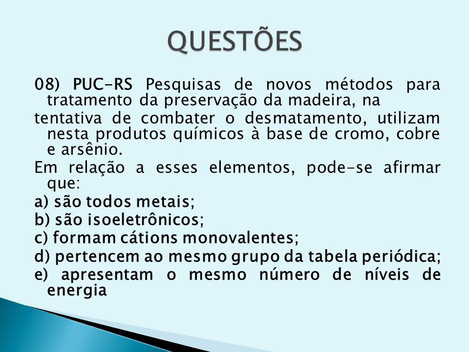 08) PUC-RS Pesquisas de novos métodos para tratamento da preservação da madeira, na tentativa de combater o desmatamento, utilizam nesta produtos quím