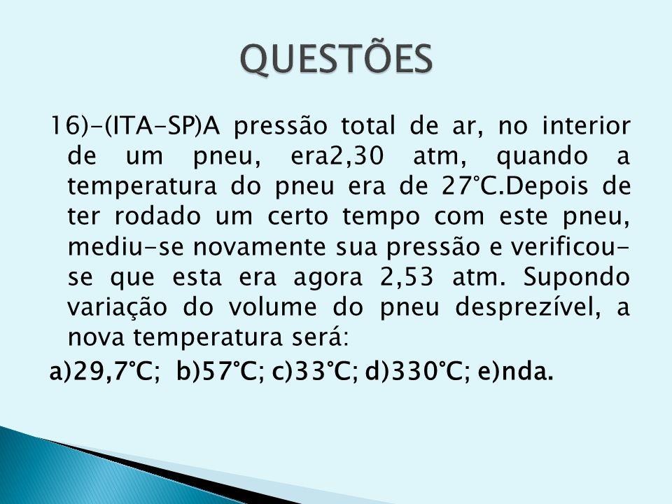 16)-(ITA-SP)A pressão total de ar, no interior de um pneu, era2,30 atm, quando a temperatura do pneu era de 27°C.Depois de ter rodado um certo tempo c