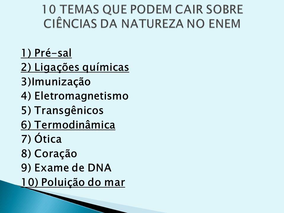 1) Pré-sal 2) Ligações químicas 3)Imunização 4) Eletromagnetismo 5) Transgênicos 6) Termodinâmica 7) Ótica 8) Coração 9) Exame de DNA 10) Poluição do
