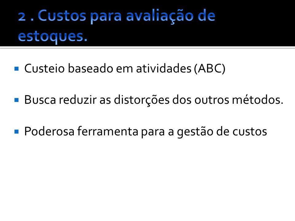 Custeio baseado em atividades (ABC) Busca reduzir as distorções dos outros métodos.