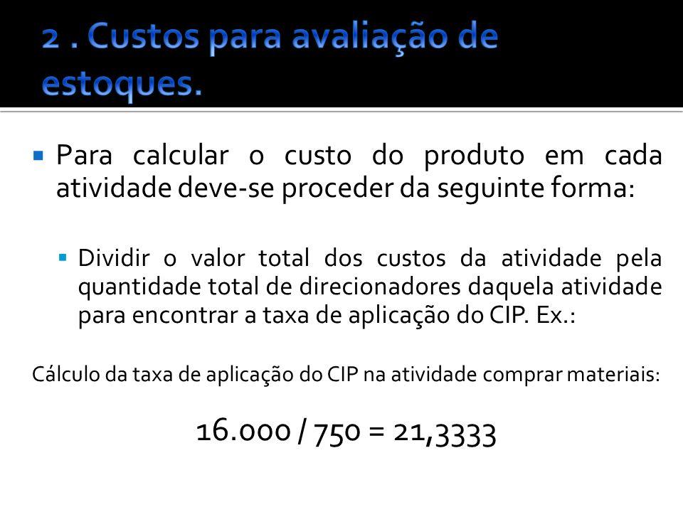 Para calcular o custo do produto em cada atividade deve-se proceder da seguinte forma: Dividir o valor total dos custos da atividade pela quantidade total de direcionadores daquela atividade para encontrar a taxa de aplicação do CIP.