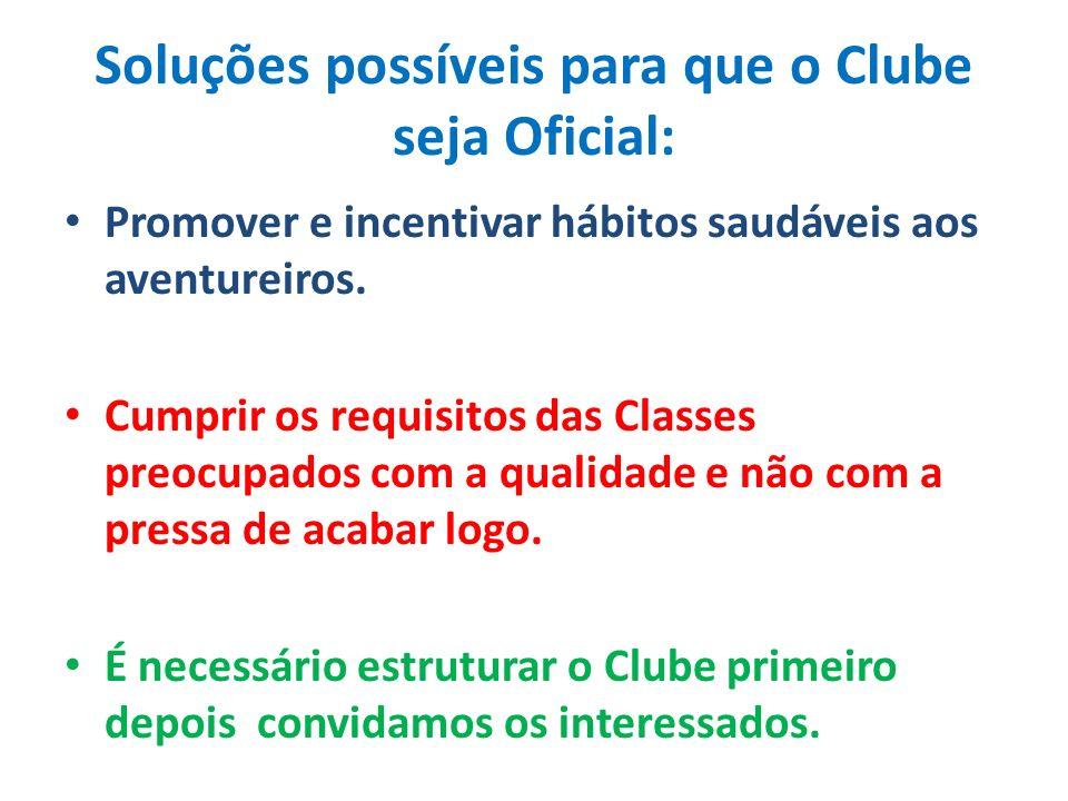Soluções possíveis para que o Clube seja Oficial: Promover e incentivar hábitos saudáveis aos aventureiros.