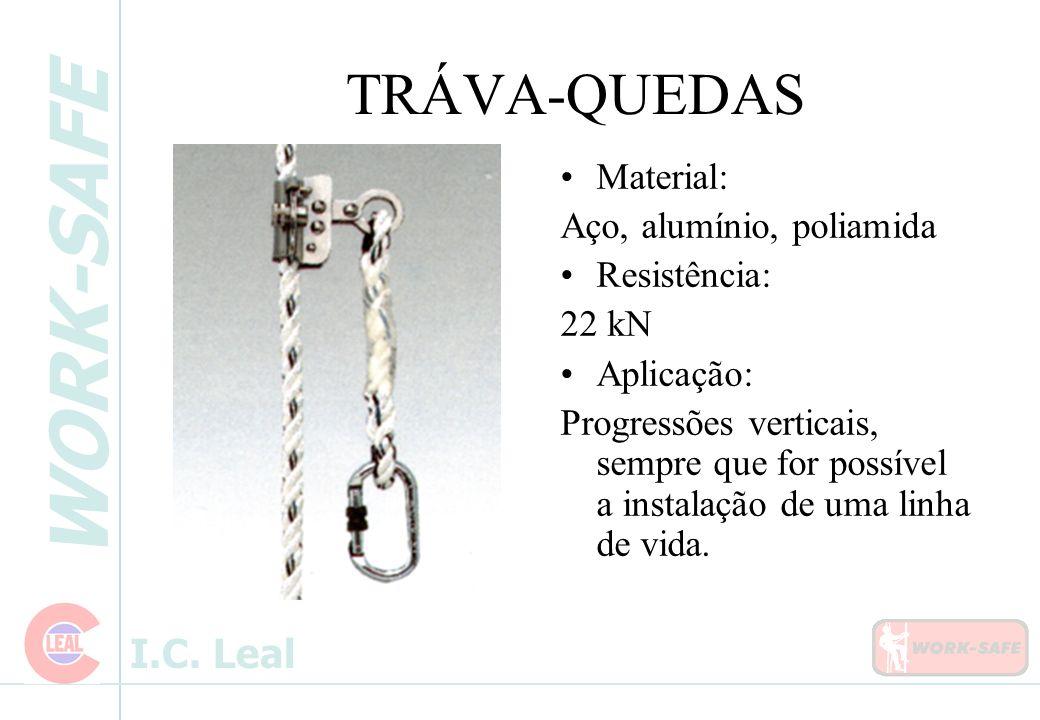 WORK-SAFE I.C. Leal TRÁVA-QUEDAS Material: Aço, alumínio, poliamida Resistência: 22 kN Aplicação: Progressões verticais, sempre que for possível a ins