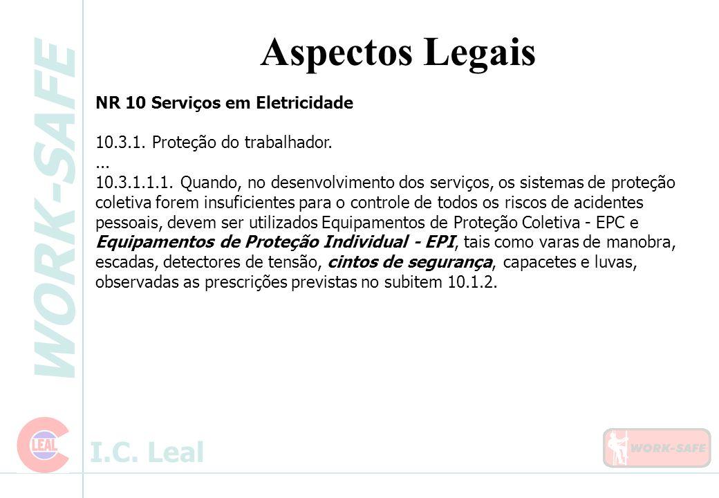 WORK-SAFE I.C. Leal Aspectos Legais NR 10 Serviços em Eletricidade 10.3.1. Proteção do trabalhador.... 10.3.1.1.1. Quando, no desenvolvimento dos serv