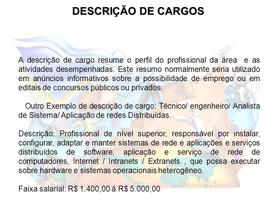 DESCRIÇÃO DE CARGOS A descrição de cargo resume o perfil do profissional da área e as atividades desempenhadas. Este resumo normalmente seria utilizad