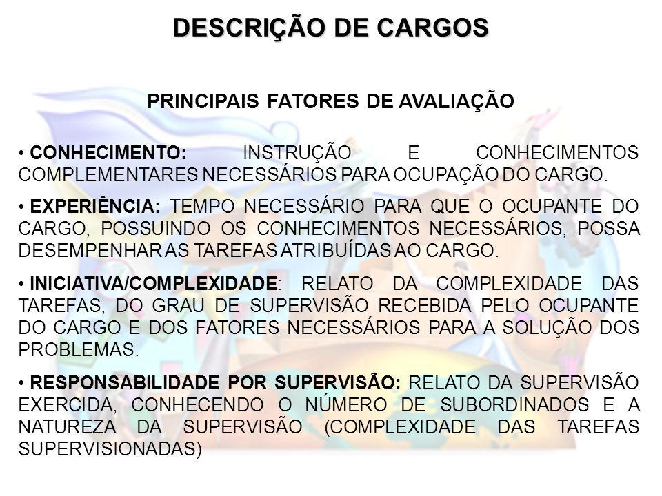 DESCRIÇÃO DE CARGOS PRINCIPAIS FATORES DE AVALIAÇÃO CONHECIMENTO: INSTRUÇÃO E CONHECIMENTOS COMPLEMENTARES NECESSÁRIOS PARA OCUPAÇÃO DO CARGO. EXPERIÊ