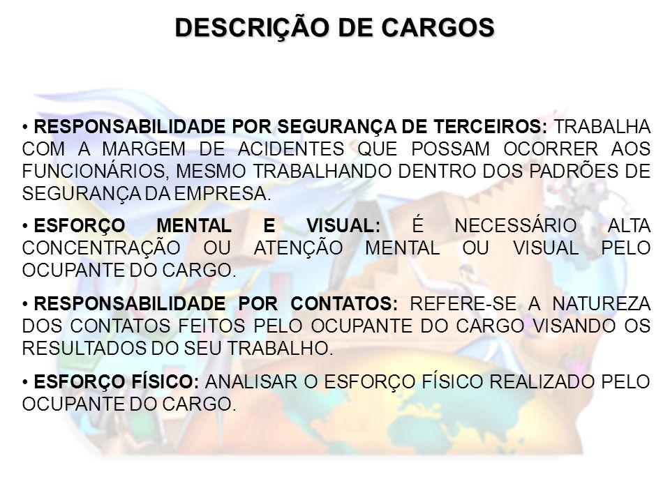DESCRIÇÃO DE CARGOS RESPONSABILIDADE POR SEGURANÇA DE TERCEIROS: TRABALHA COM A MARGEM DE ACIDENTES QUE POSSAM OCORRER AOS FUNCIONÁRIOS, MESMO TRABALH