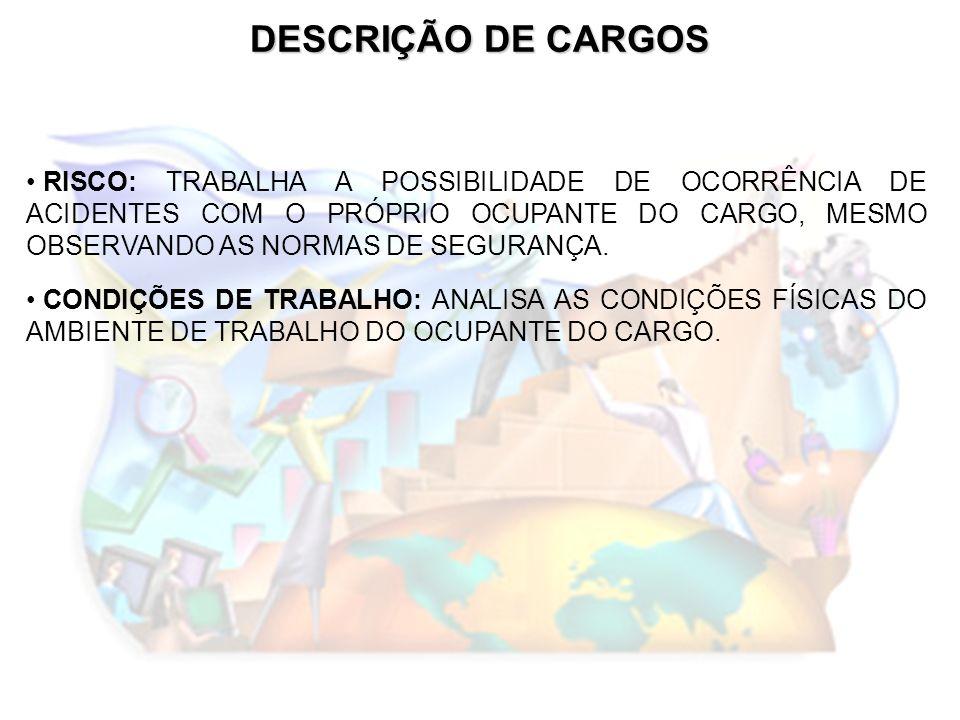 DESCRIÇÃO DE CARGOS RISCO: TRABALHA A POSSIBILIDADE DE OCORRÊNCIA DE ACIDENTES COM O PRÓPRIO OCUPANTE DO CARGO, MESMO OBSERVANDO AS NORMAS DE SEGURANÇ