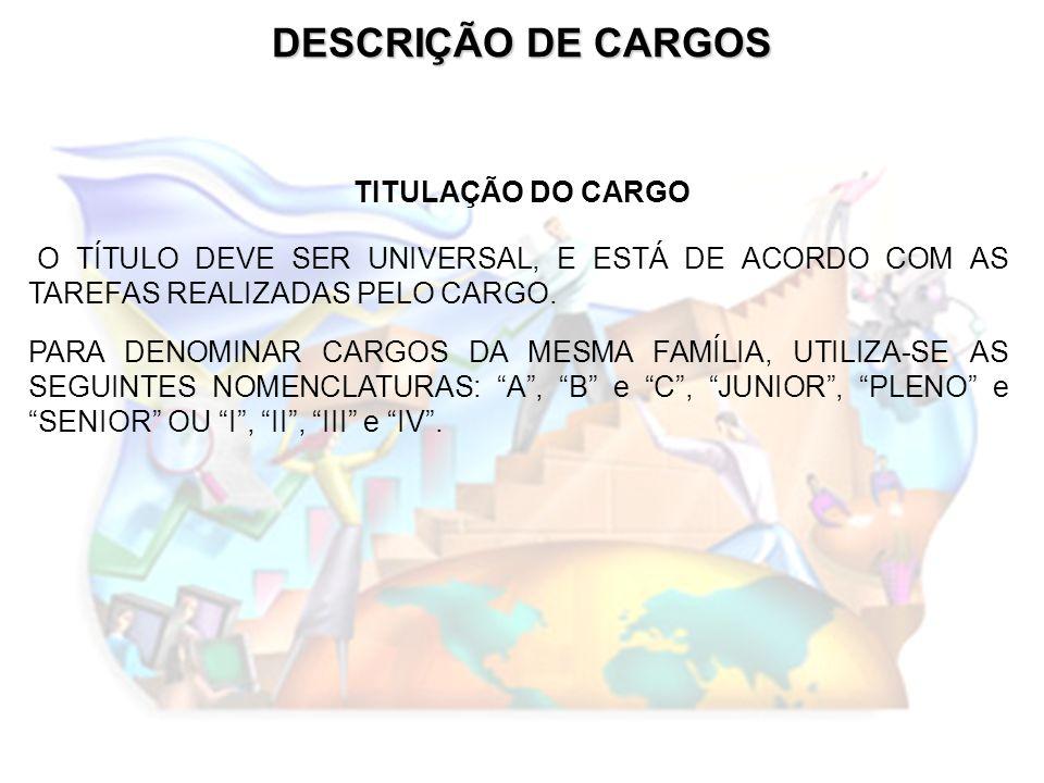 DESCRIÇÃO DE CARGOS TITULAÇÃO DO CARGO O TÍTULO DEVE SER UNIVERSAL, E ESTÁ DE ACORDO COM AS TAREFAS REALIZADAS PELO CARGO. PARA DENOMINAR CARGOS DA ME