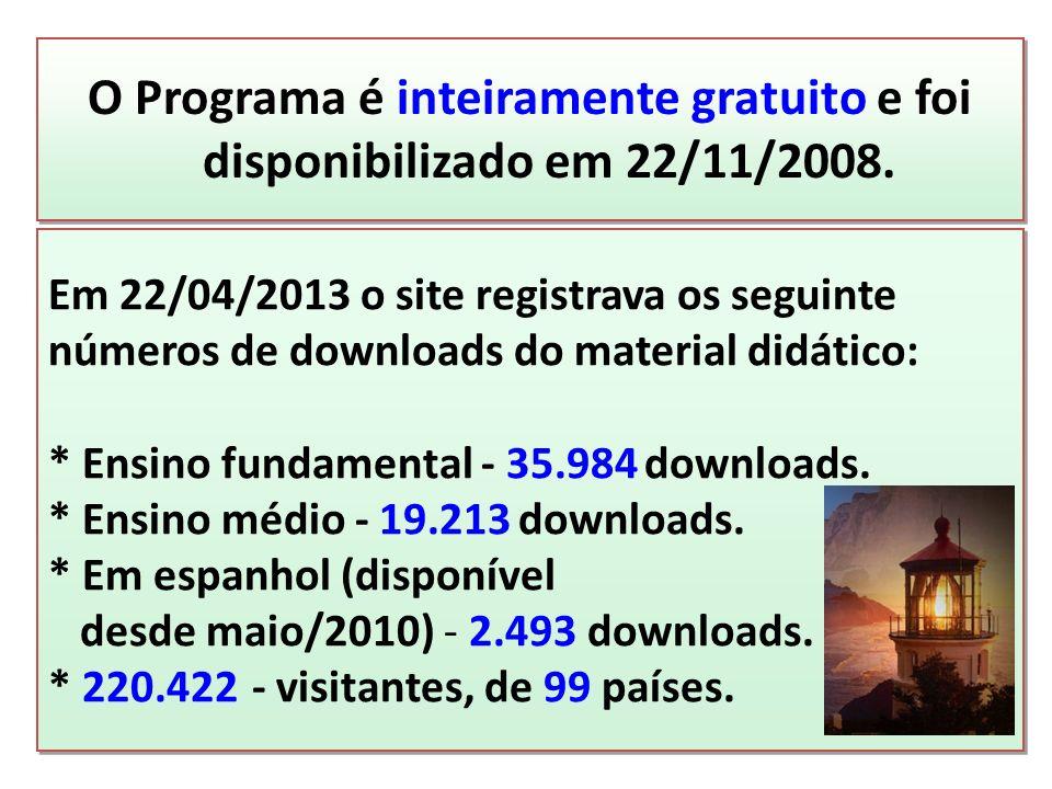 O Programa é inteiramente gratuito e foi disponibilizado em 22/11/2008. Em 22/04/2013 o site registrava os seguinte números de downloads do material d