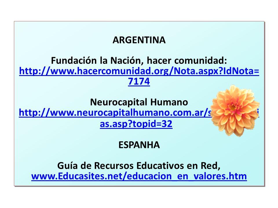 ARGENTINA Fundación la Nación, hacer comunidad: http://www.hacercomunidad.org/Nota.aspx?IdNota= 7174 Neurocapital Humano http://www.neurocapitalhumano