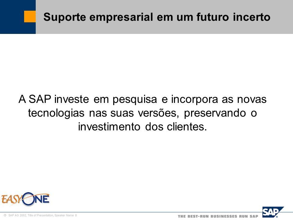 SAP Brazil – SMB Team Suporte empresarial em um futuro incerto A SAP investe em pesquisa e incorpora as novas tecnologias nas suas versões, preservand