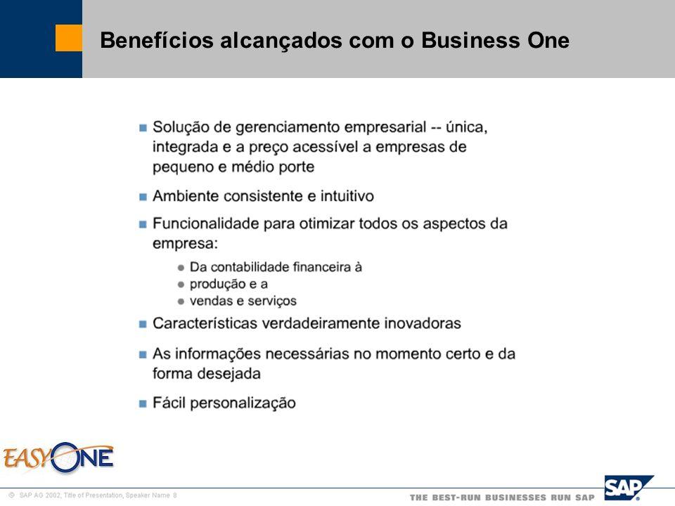 SAP Brazil – SMB Team Benefícios alcançados com o Business One