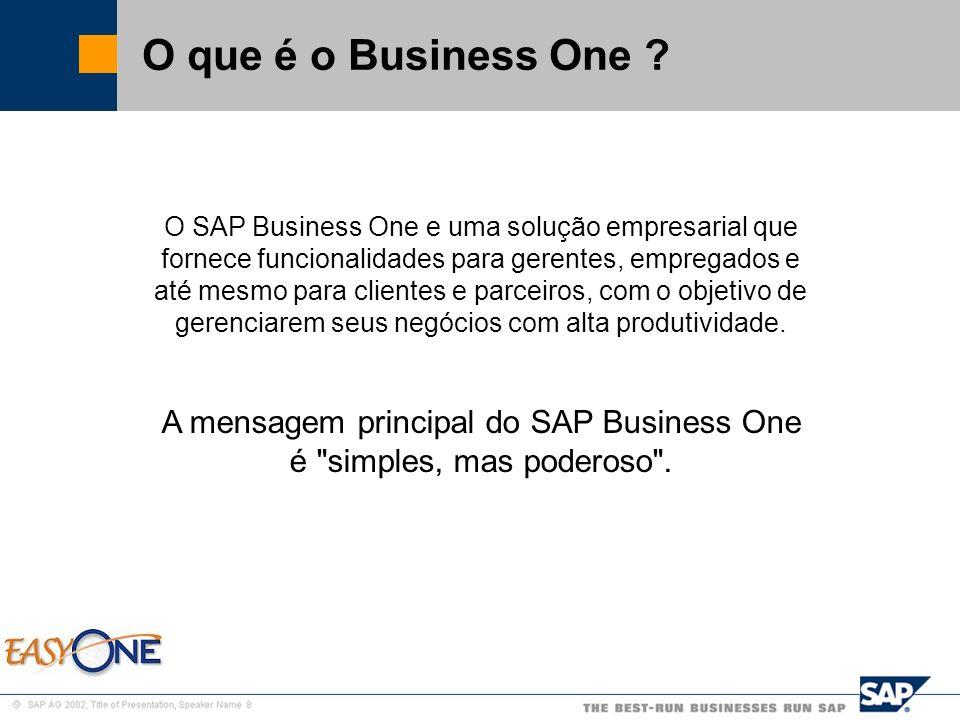 SAP Brazil – SMB Team O que é o Business One ? O SAP Business One e uma solução empresarial que fornece funcionalidades para gerentes, empregados e at