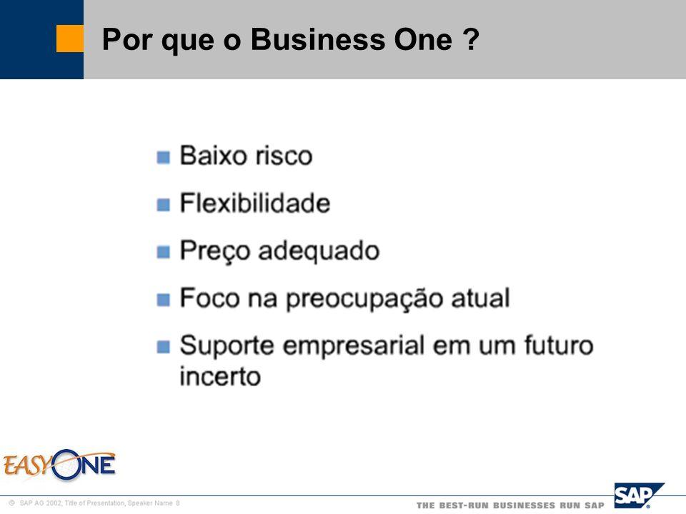 SAP Brazil – SMB Team Baixo Risco O cliente não vai precisar mudar tão logo, a vida útil de uma solução SAP é de 10 anos.