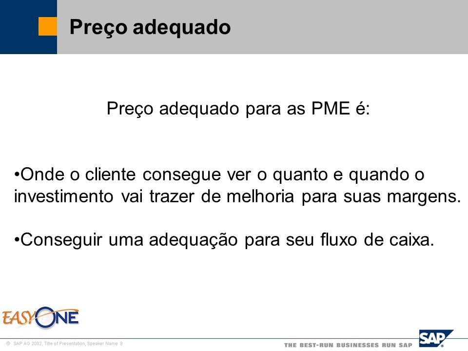 SAP Brazil – SMB Team Preço adequado Preço adequado para as PME é: Onde o cliente consegue ver o quanto e quando o investimento vai trazer de melhoria