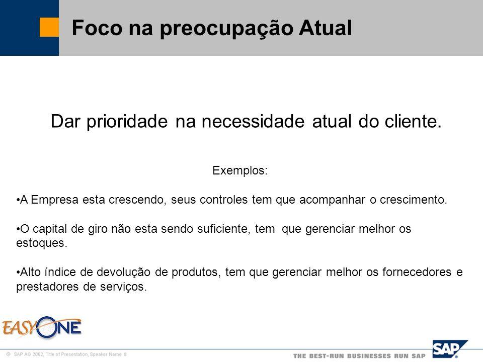 SAP Brazil – SMB Team Foco na preocupação Atual Dar prioridade na necessidade atual do cliente. Exemplos: A Empresa esta crescendo, seus controles tem