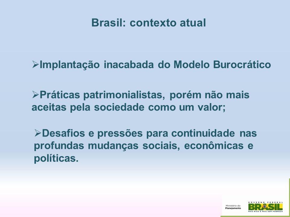Brasil: contexto atual Implantação inacabada do Modelo Burocrático Práticas patrimonialistas, porém não mais aceitas pela sociedade como um valor; Des
