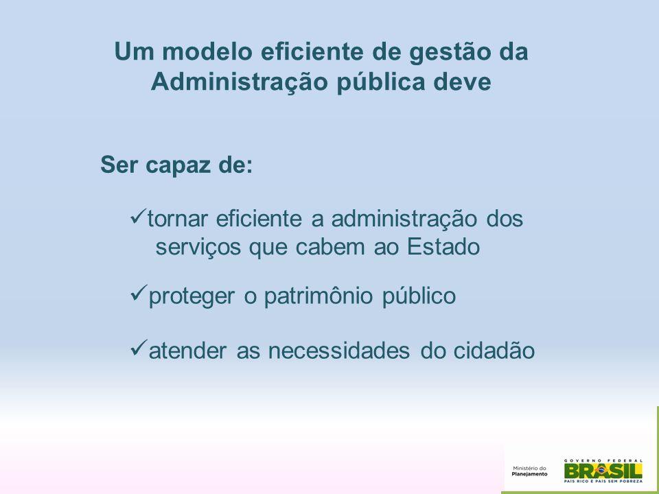 Um modelo eficiente de gestão da Administração pública deve Ser capaz de: tornar eficiente a administração dos serviços que cabem ao Estado proteger o