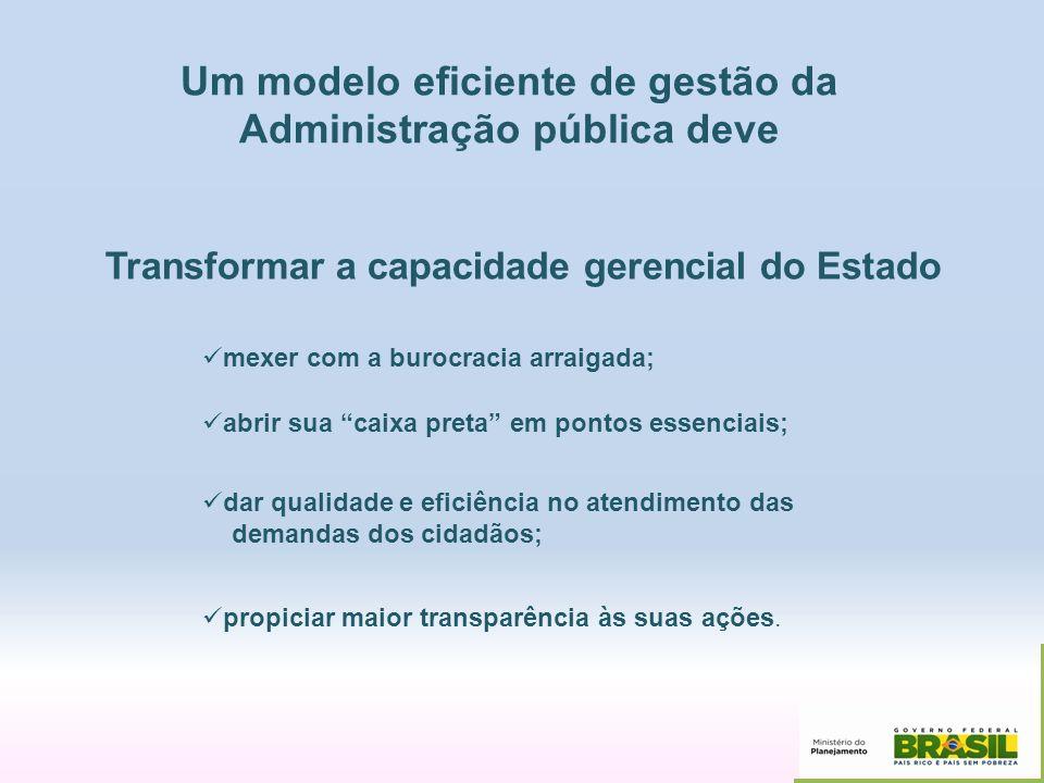 Transformar a capacidade gerencial do Estado mexer com a burocracia arraigada; dar qualidade e eficiência no atendimento das demandas dos cidadãos; pr