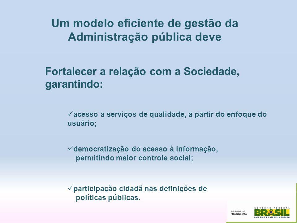 Fortalecer a relação com a Sociedade, garantindo: acesso a serviços de qualidade, a partir do enfoque do usuário; democratização do acesso à informaçã