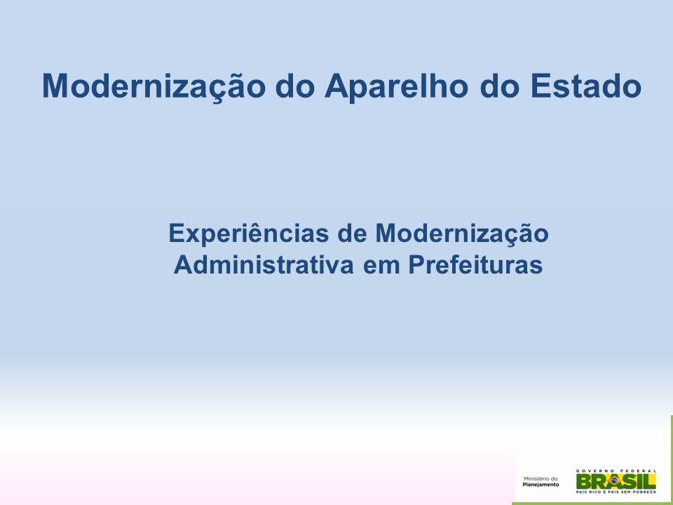 Modernização do Aparelho do Estado Experiências de Modernização Administrativa em Prefeituras