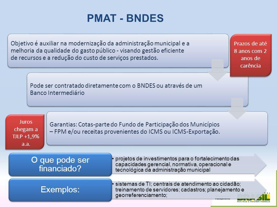 PMAT - BNDES Objetivo é auxiliar na modernização da administração municipal e a melhoria da qualidade do gasto público - visando gestão eficiente de r