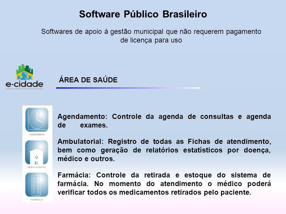 ÁREA DE SAÚDE Agendamento: Controle da agenda de consultas e agenda deexames. Ambulatorial: Registro de todas as Fichas de atendimento, bem como geraç