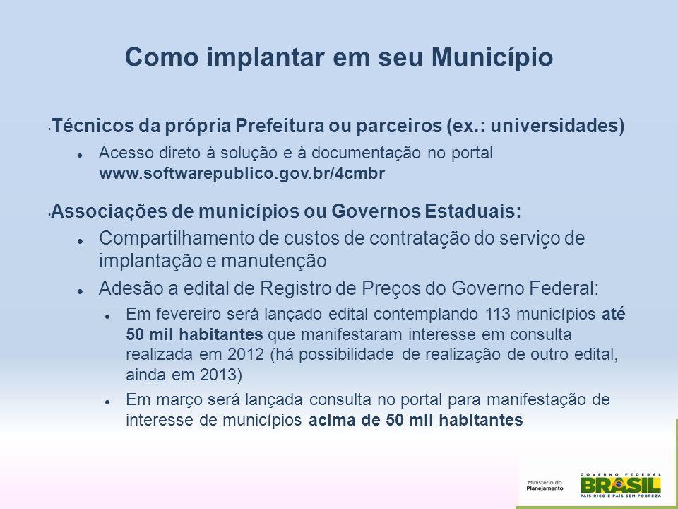 Como implantar em seu Município Técnicos da própria Prefeitura ou parceiros (ex.: universidades) Acesso direto à solução e à documentação no portal ww