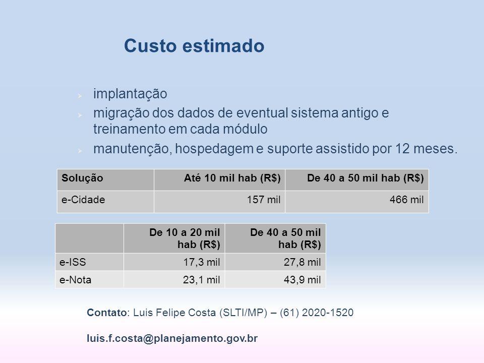 Custo estimado SoluçãoAté 10 mil hab (R$)De 40 a 50 mil hab (R$) e-Cidade157 mil466 mil implantação migração dos dados de eventual sistema antigo e tr