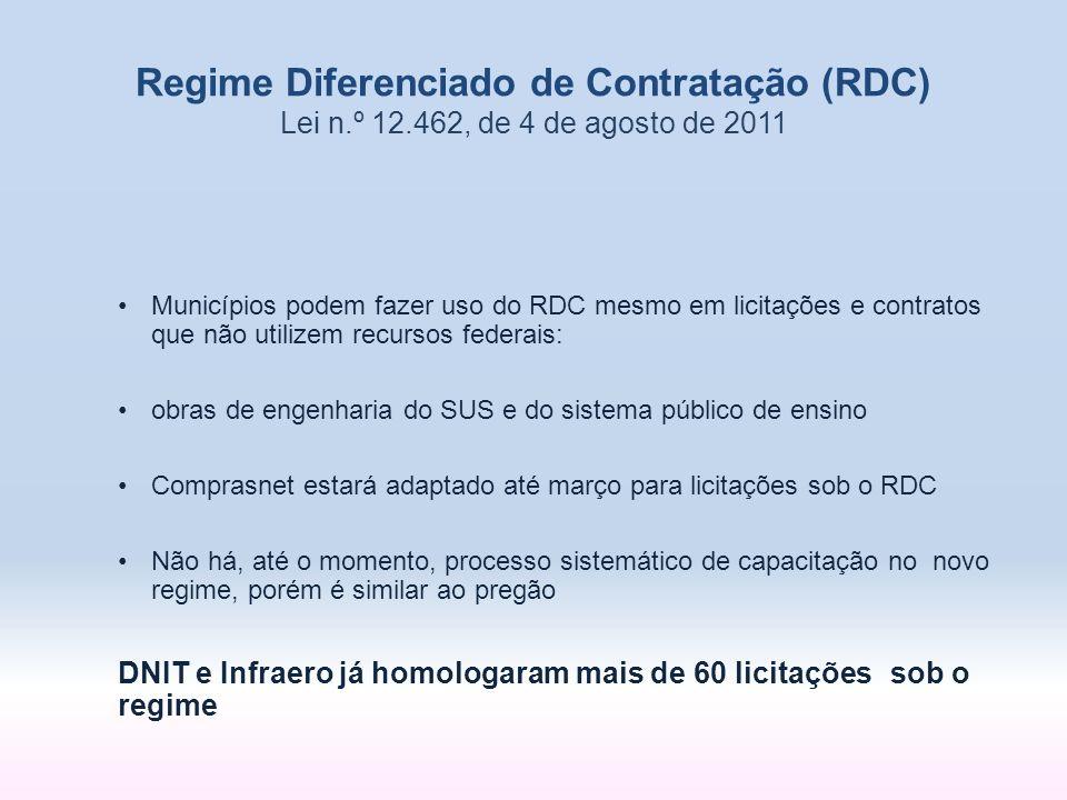 Municípios podem fazer uso do RDC mesmo em licitações e contratos que não utilizem recursos federais: obras de engenharia do SUS e do sistema público