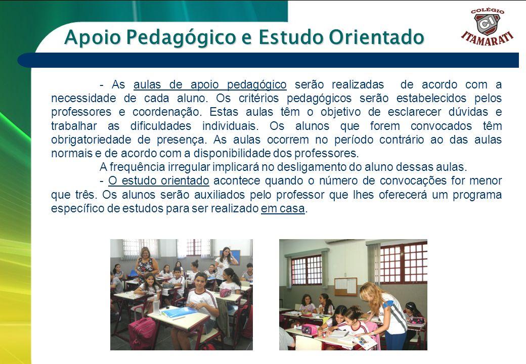 6º a 9º ANOS - As aulas de apoio pedagógico serão realizadas de acordo com a necessidade de cada aluno. Os critérios pedagógicos serão estabelecidos p