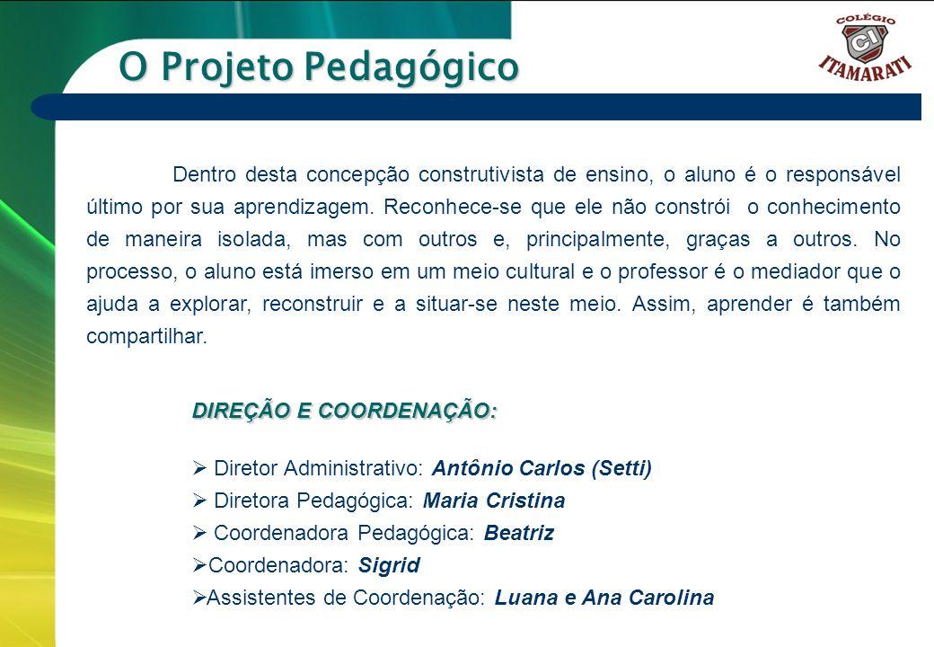 6º a 9º ANOS O Projeto Pedagógico Dentro desta concepção construtivista de ensino, o aluno é o responsável último por sua aprendizagem. Reconhece-se q