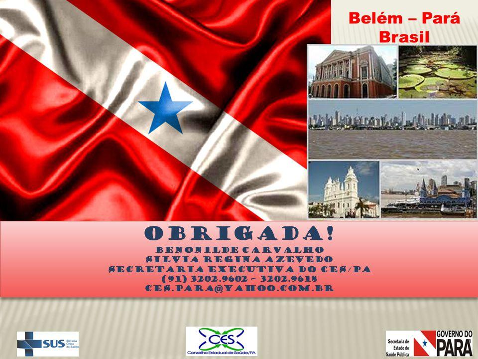 Obrigada! Benonilde Carvalho Silvia regina azevedo Secretaria Executiva do CES/pa (91) 3202.9602 – 3202.9618 Ces.para@yahoo.com.br Obrigada! Benonilde